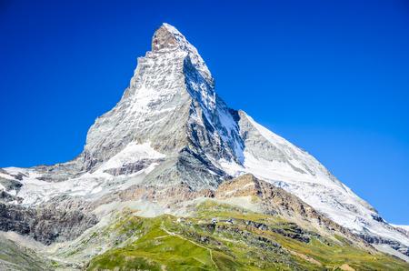 Zermatt, Switzerland. Mountain landscape of Matterhorn, Monte Cervino (4478 m) a pyramidal peak of Pennine Alps in Swiss country.