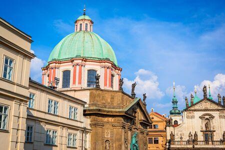praha: Prague, Czech Republic. Scenic summer dwetail of the Old Town architecture in Praha, Bohemia.
