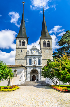 confederation: Luzern, Switzerland. Church of St. Leodegar, Hofkirche the most important church and landmark in the city of Lucerne. Swiss Confederation. Stock Photo