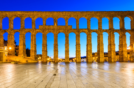 Segovia, Spain. Plaza del Azoguejo and the ancient Roman Aqueduct, from 1st century AD of Roman Empire.