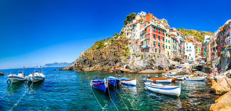 Cinque Terre, Italy.Riomaggiore si a small fishermen village in the Liguria region of Itala, Mediterranean Sea.