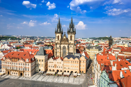 stare mesto: Prague, Czech Republic. Aerial view over Church of Our Lady before Tyn at Old Town square (Starometska) in Praha. Stock Photo