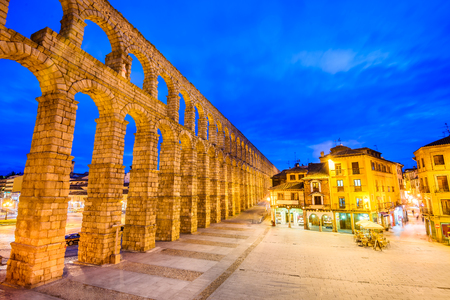 1st century: Segovia, Spain. Plaza del Azoguejo and the ancient Roman Aqueduct, from 1st century AD of Roman Empire.