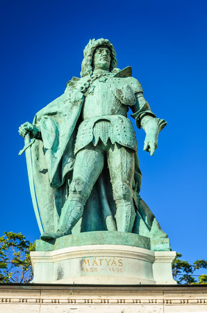 chieftain: Budapest, Hungary. The Millennium Monument in Heroes Square with detail of Matyas King of Hungary.