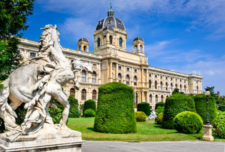 history: Vienna, Austria. Beautiful view of famous Naturhistorisches Museum (Natural History Museum) with park Maria-Theresien-Platz and sculpture in Vienna, Austria