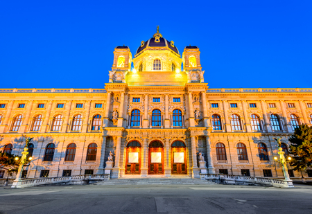 fine arts: Vienna, Austria. Beautiful view of famous Kunsthistorisches (Fine Arts Museum) with park Maria-Theresien-Platz and sculpture in Vienna, Austria.