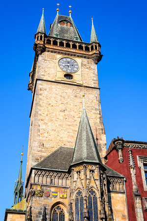 stare mesto: Prague, Czech Republic. Old Town Hall built in 1388, Gohtic architecture style in Bohemia capital city.