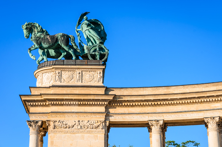 chieftain: Heroes Square is one of the major attraction of Budapest, Hungary, rich with historic and political connotations, completed in 1900.