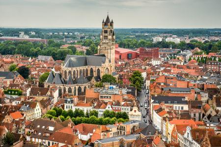 salvator: Bruges, Belgium. Top view of the Saint Salvator Cathedral in Brugge city of Flanders, belgian culture heritage.