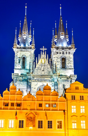stare mesto: Prague, Czech Republic. One of Stare Mesto symbols, Church of Our Lady of Tyn, with gothic facade and 80 meters towers, Bohemia landmark.