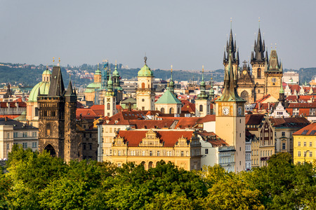 stare mesto: Prague, Czech Republic. Summer scenery of Praha with towers. Old Town Tower, Tyn Church of Starometska in Stare Mesto district.