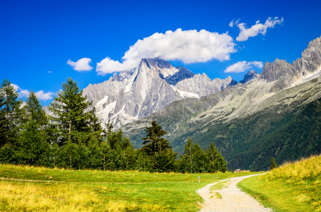 Mont Blanc, France. Summer scennery with amazing Aiguille du Midi conic mountain in Chamonix Haute-Savoie region of European Alps
