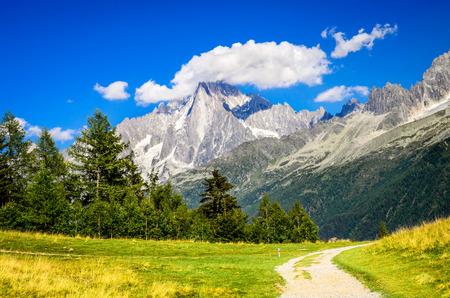 aiguille: Mont Blanc, France. Summer scennery with amazing Aiguille du Midi conic mountain in Chamonix Haute-Savoie region of European Alps