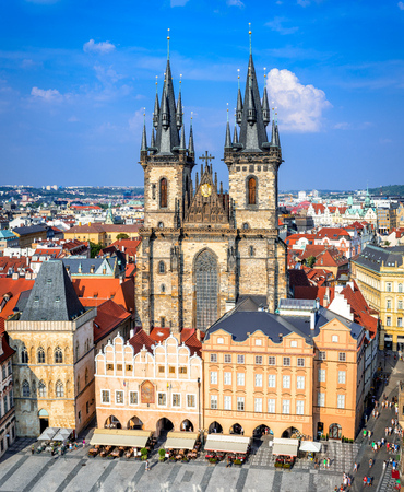 unesco in czech republic: Prague, Czech Republic. Aerial view over Church of Our Lady before Tyn at Old Town square (Starometska) in Praha. Editorial