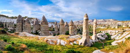phallic: Cappadocia, Turkey. Amazing and idyllic Love Valley in natural park, landmark of Goreme with fairy chimney