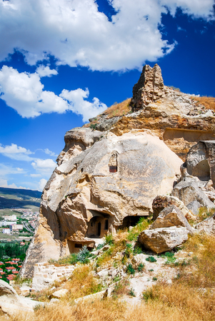 caved: Turkey, Urgup. Multi-storey home of the cave town, ocated in the historical region of Cappadocia, Central Anatolia in Asia Minor Stock Photo