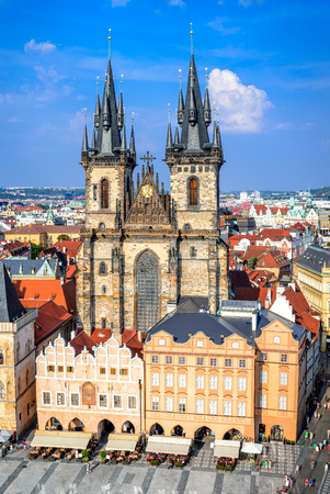 praha: Prague, Czech Republic. Aerial view over Church of Our Lady before Tyn at Old Town square (Starometska) in Praha. Editorial