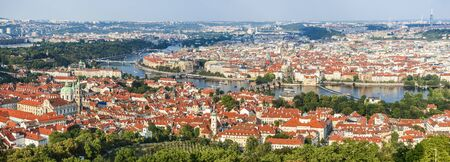 stare mesto: Prague, Czech Republic. View of Mala Strana, Charles Bridge, Vltava River and Stare Mesto from Petrin hill. Landmark of Bohemia.