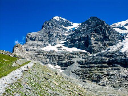 oberland: Eiger, Switzerland. One of amazing mountain peaks in Berner Oberland part of European Alps, main landmark of Swiss Confederation
