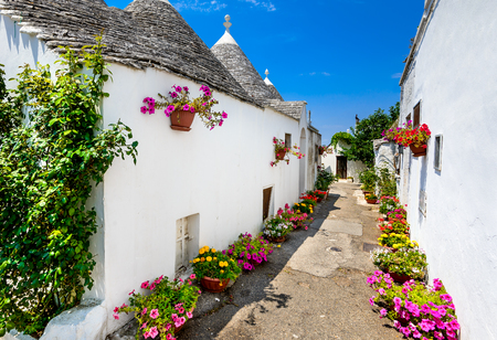 Alberobello, Italy, Puglia. Unique Trulli houses with conical roofs. Trullo, trulli, a traditional Apulian dry stone hut with a conical roof.