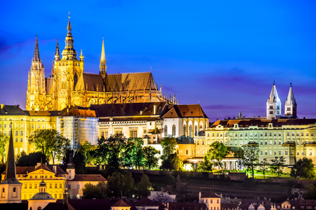 morning blue hour: Prague, Czech Republic. Hradcany (Prague Castle) with St. Vitus Cathedral and St. George church evening dusk, Bohemia landmark in Praha.