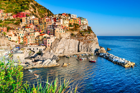 Manarola, small town in province La Spezia, Liguria, northern Italy. It is the second smallest of famous Cinque Terre, tourists attraction.