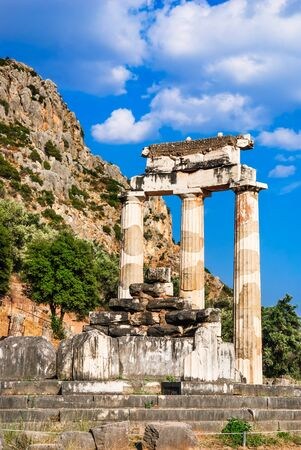 foresee: Ancient temple dedicated to Athena near Mount Parnassus, Delphi, Greece Stock Photo