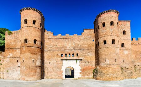 roman empire: Rome, Italy. Porta Asinaria is a gate in the Aurelian Walls of Rome, ancient landmark from Roman Empire, stone walled largest city of the world.