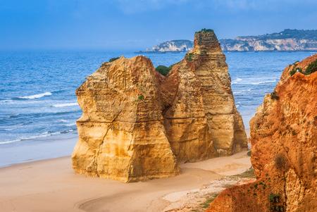 region of algarve: Praia da Rocha. Idillyc landscape with golden sands beach at coast of Algave, Portugal