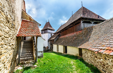 fortified: Transylvania, Romania. Image of fortified church of Viscri, UNESCO heritage site, german landmark in romanian country.
