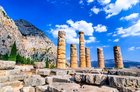 to foresee: Ancient Greece. Ruins remains of the large temple of Apollo, Delphi, Greece, greek culture landmark.