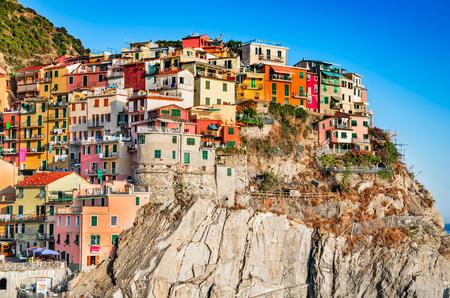 Manarola, Cinque Terre. Small fisherman village in Liguria, northern Italy. Famous touristic attraction Mediterranean Sea.