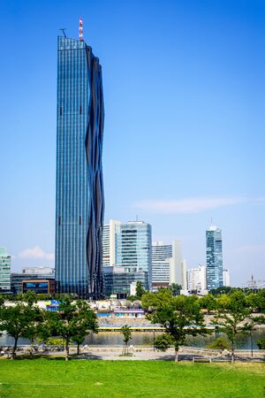 VIENNA, AUSTRIA - 3 AUGUST: Danube City Vienna with the brand new DC-Tower tallest skyscraper in Austria.