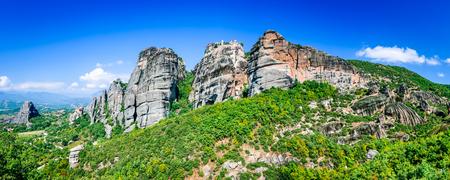 kalampaka: Meteora, Greece. Greek Orthodox six monasteries complex built on natural sandstone rock pillars in Pindus Mountains, Thessaly. Editorial