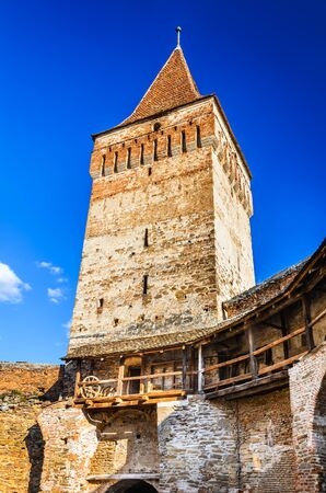 Dungeon tower of Mosna fortified church, Romania. Mosna has one of the most beautiful and biggest churches in the Tarnave valley, Transylvania.