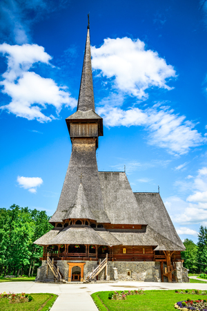 Sapanta, Romania. Peri Monastery in Maramures, Transylvania. Highest wooden church from the world. Reklamní fotografie