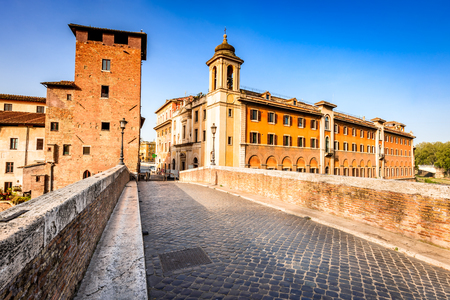 esculapio: Rome, Italy. Morning panoramic view to the Ponte Fabricio and Tiber Island which hosts the Fatebenefratelli Hospital