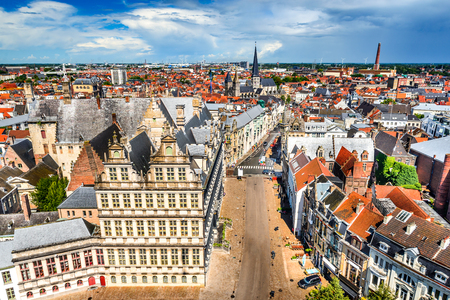 Gent, Belgium. Skyline of Ghent (Gand) in West Flanders, seen from Belfort tower with St. Jacob Church.