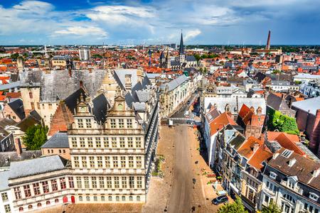 belfort: Gent, Belgium. Skyline of Ghent (Gand) in West Flanders, seen from Belfort tower with St. Jacob Church.