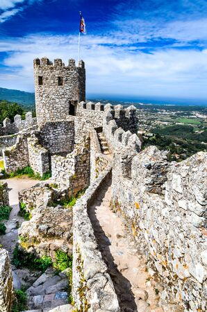 moors: Sintra, Portugal. Castle of the Moors hilltop medieval fortress, built by Arabs in 8th century.