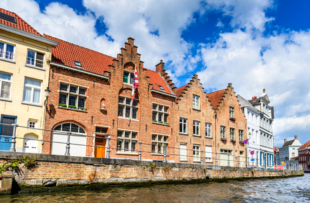 Bruges, Belgium. Scenic city view of Brugge canal Spiegelrei with beautiful medieval houses and reflections, Flanders Stock Photo