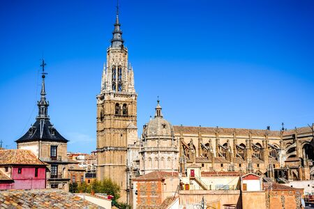 castille: Toledo, Spain. Primate Catedral in ancient city on a hill over the Tagus River, Castilla la Mancha medieval attraction of Espana.