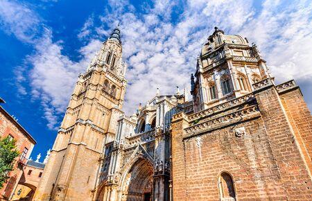 primate: Toledo, Spain. Primate Catedral in ancient city on a hill over the Tagus River, Castilla la Mancha medieval attraction of Espana.