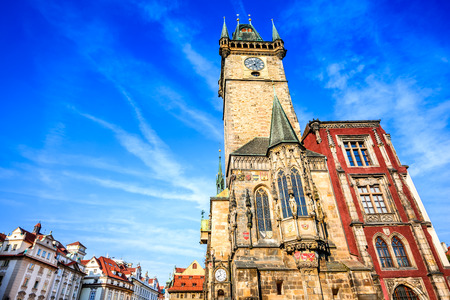 Prague, Czech Republic. Old Town Hall built in 1388, Gohtic architecture style in Bohemia capital city.