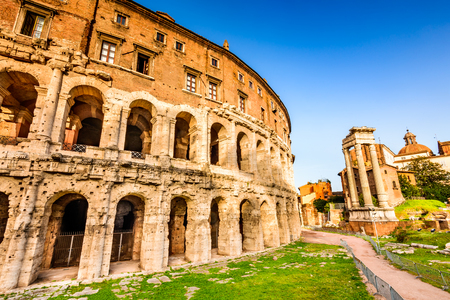 Rome, Italy. Morning  view to the Theatre of Marcellus (Italian: Teatro di Marcello) built in early Roman Republic.