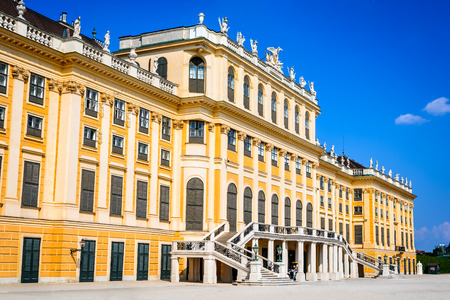 wien: Vienna, Austria. Schonbrunn Palace in Wien. Its a former imperial 1,441-room Rococo summer residence in modern Austrian capital city. Editorial