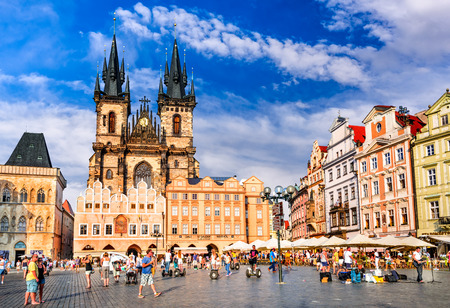 stare mesto: PRAGUE, CZECH REPUBLIC - 6 AUGUST 2016: Tourists in Stare Mesto (Old Town) district of Prague, medieval capital city of Bohemia