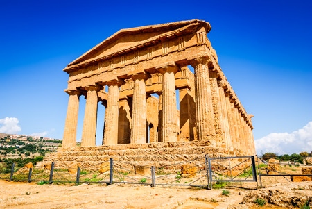 valley of the temples: Agrigento, Sicily, Italy. Ercole Ancient Greek temple in the Valley of the Temples, Sicilian island.