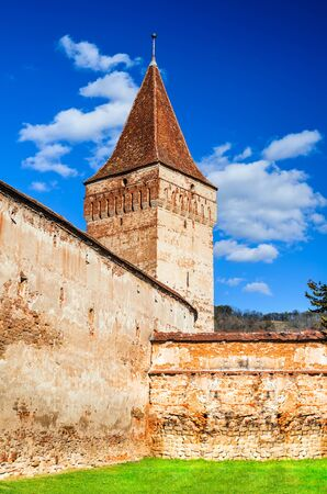 dungeon: Mosna, Transylvania. Dungeon tower of Mosna fortified church. one of the most beautiful and biggest churches in the Tarnava valley, Transylvania in Romania.