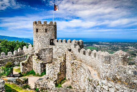 Sintra, Portugal. Castle of the Moors hilltop medieval fortress, built by Arabs in 8th century.